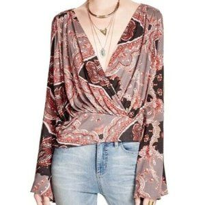 Free People UO Fiona Bell Sleeve Wrap Blouse Top